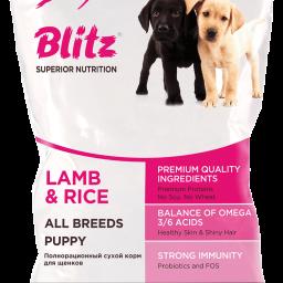 Blitz: сухой корм для щенков всех пород с ягнёнком и рисом