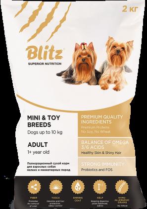 Blitz: сухой корм для взрослых собак мелких и миниатюрных пород