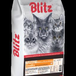 Blitz Sensitive «Индейка» сухой корм для взрослых кошек