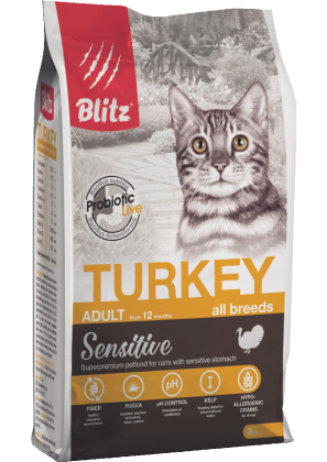 """Blitz Sensitive """"Индейка"""" сухой корм для взрослых кошек"""