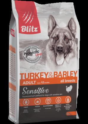 Blitz Sensitive с индейкой и ячменем сухой корм для взрослых собак всех пород