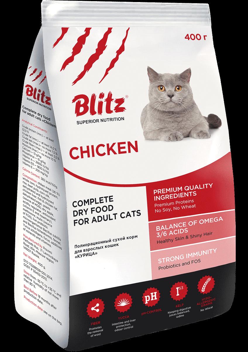 Blitz For Adult Cats Chicken: сухой корм для взрослых кошек «Курица»