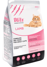 """Blitz: сухой корм для взрослых кошек """"Ягнёнок"""""""