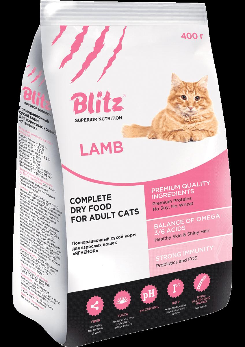 Blitz For Adult Cats Lamb: сухой корм для взрослых кошек «Ягнёнок»