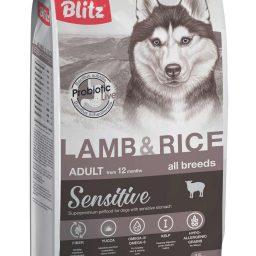 Blitz Sensitive с ягнёнком и рисом сухой корм для взрослых собак всех пород