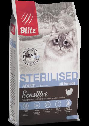 Blitz: сухой корм с индейкой для стерилизованных кошек