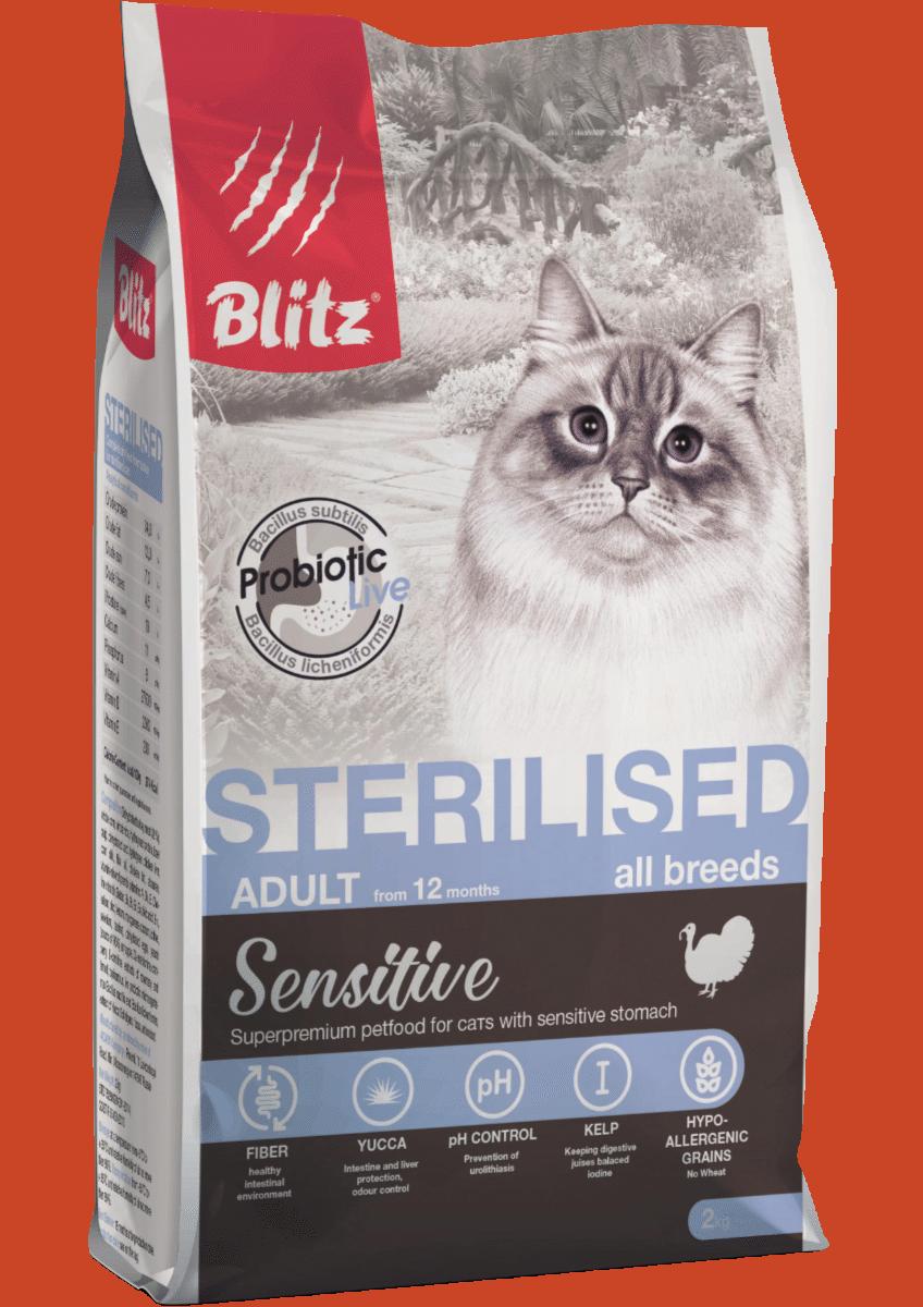 Blitz Sensitive с индейкой сухой корм для стерилизованных кошек
