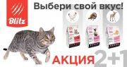 Акция на корма Blitz для кошек — «Выбери свой вкус»