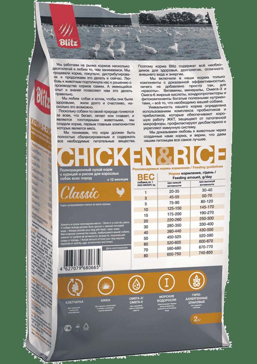 Blitz Classic с курицей и рисом сухой корм для собак всех пород