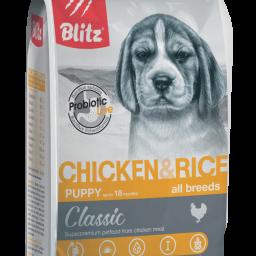 Blitz Classic с курицей и рисом сухой корм для щенков всех пород