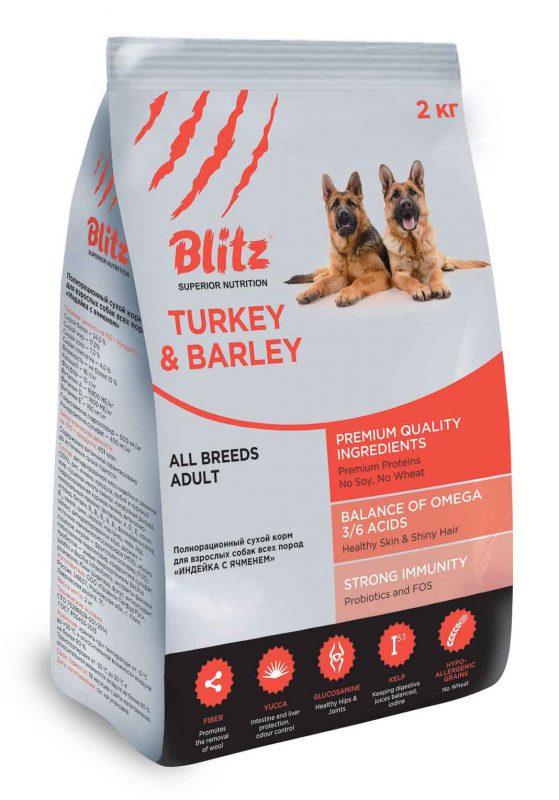 Новая упаковка Blitz Adult Turkey & Barley: 2 кг