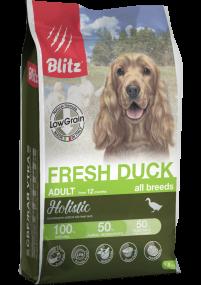 Blitz Holistic СВЕЖАЯ УТКА — низкозерновой сухой корм для взрослых собак всех пород