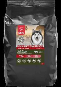 Blitz Holistic ГОВЯДИНА И БЕЛАЯ РЫБА — беззерновой сухой корм для взрослых собак всех пород