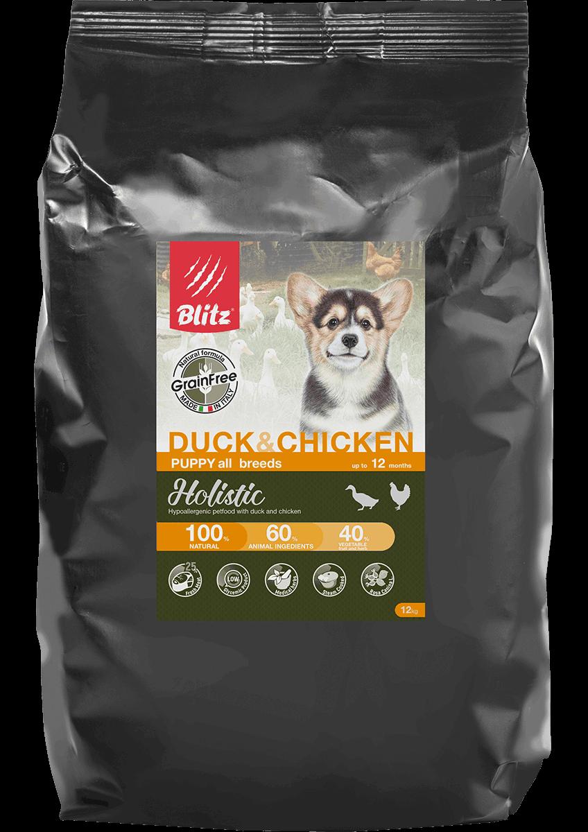 Blitz Holistic утка и цыпленок — беззерновой сухой корм для щенков всех пород