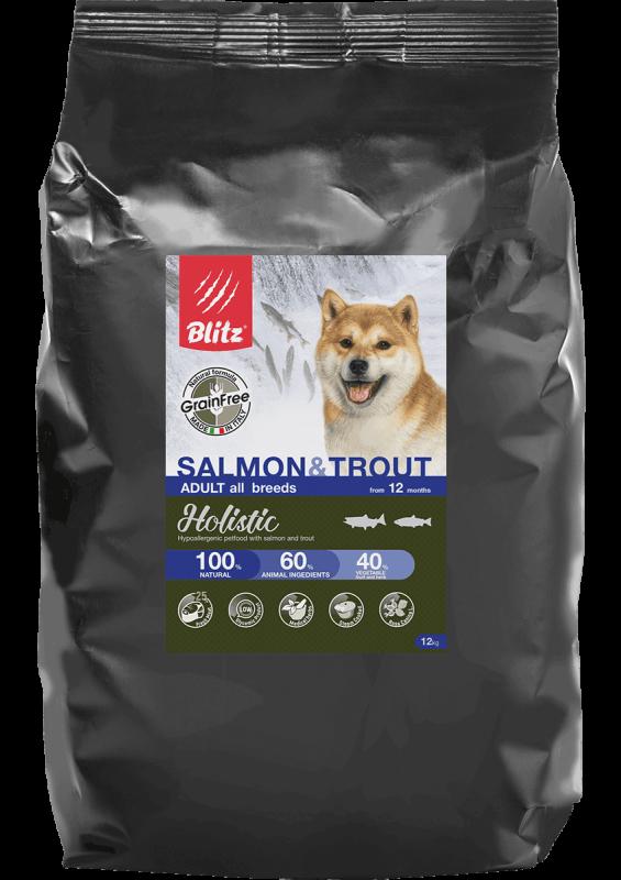 Blitz Holistic ЛОСОСЬ И ФОРЕЛЬ — беззерновой сухой корм для взрослых собак всех пород