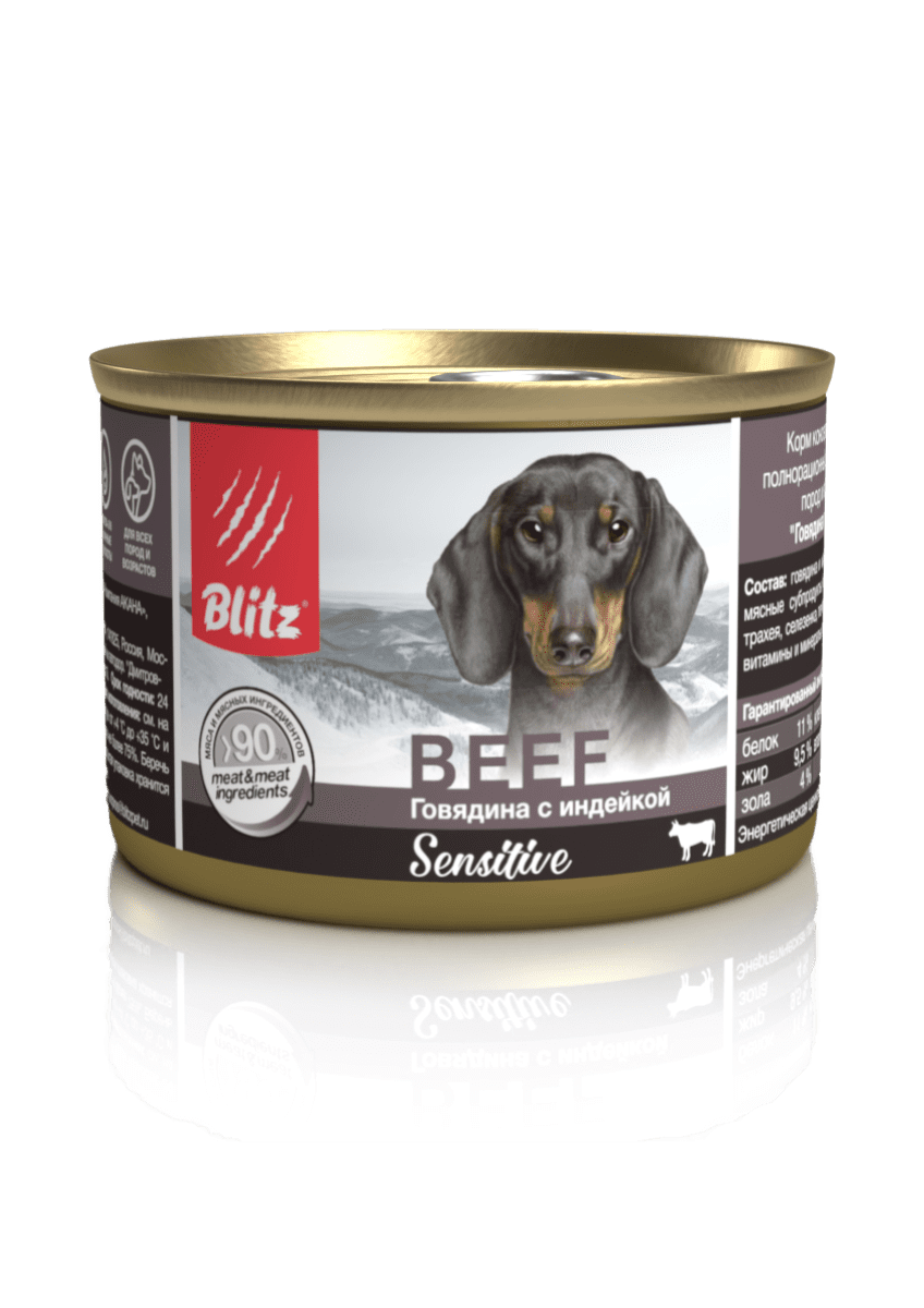 Blitz Sensitive «Говядина с индейкой» консервированный корм для собак всех пород и возрастов