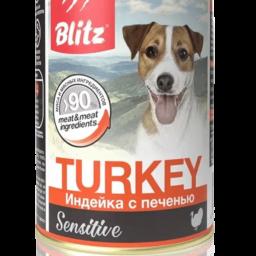 Blitz: консервированный корм для собак всех пород и возрастов с индейкой и печенью