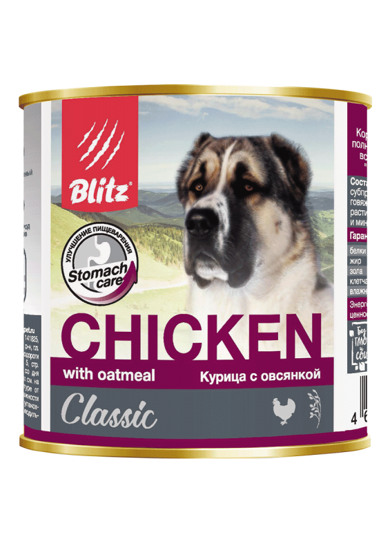 """Blitz Classic """"Курица с овсянкой"""" консервированный корм для собак всех пород и возрастов"""
