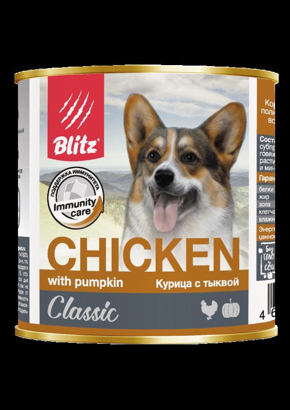 Blitz: консервированный корм для собак всех пород и возрастов с курицей и тыквой