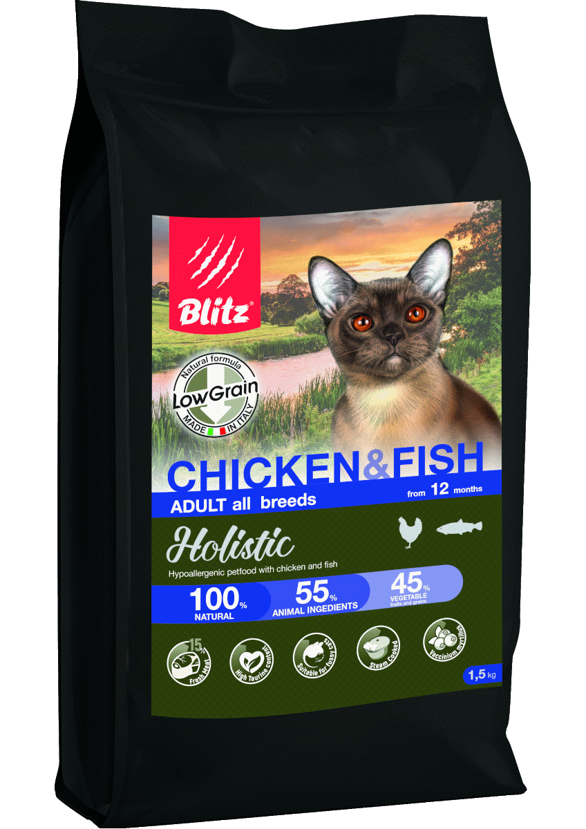 Blitz Holistic КУРИЦА И РЫБА — для взрослых кошек всех пород