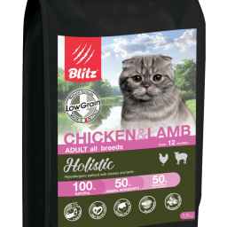Blitz Holistic КУРИЦА И ЯГНЕНОК — низкозерновой корм для взрослых кошек всех пород