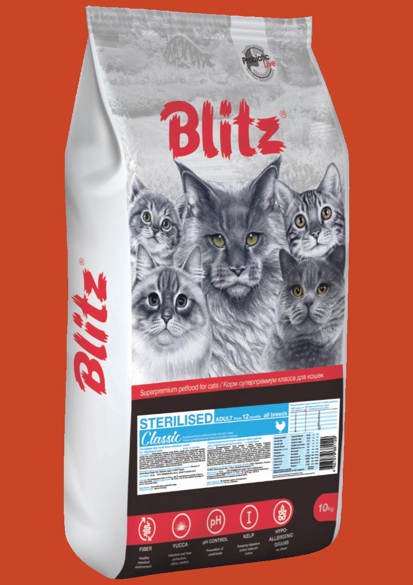 Blitz: сухой корм с курицей для стерилизованных кошек