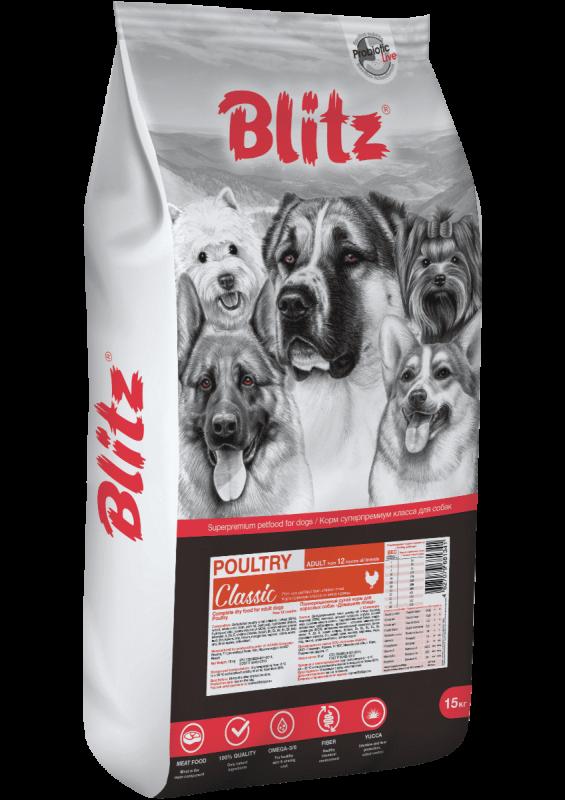 Blitz Classic с домашней птицей сухой корм для взрослых собак всех пород