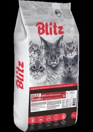 Blitz: сухой корм для взрослых кошек «Говядина»