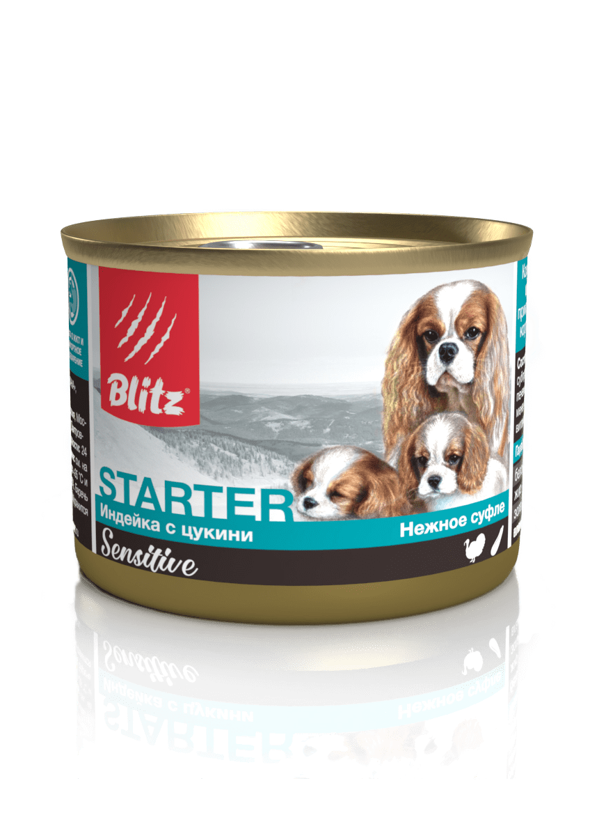 Blitz Sensitive «Индейка с цукини» консервированный корм-стартер для щенков, беременных и кормящих сук