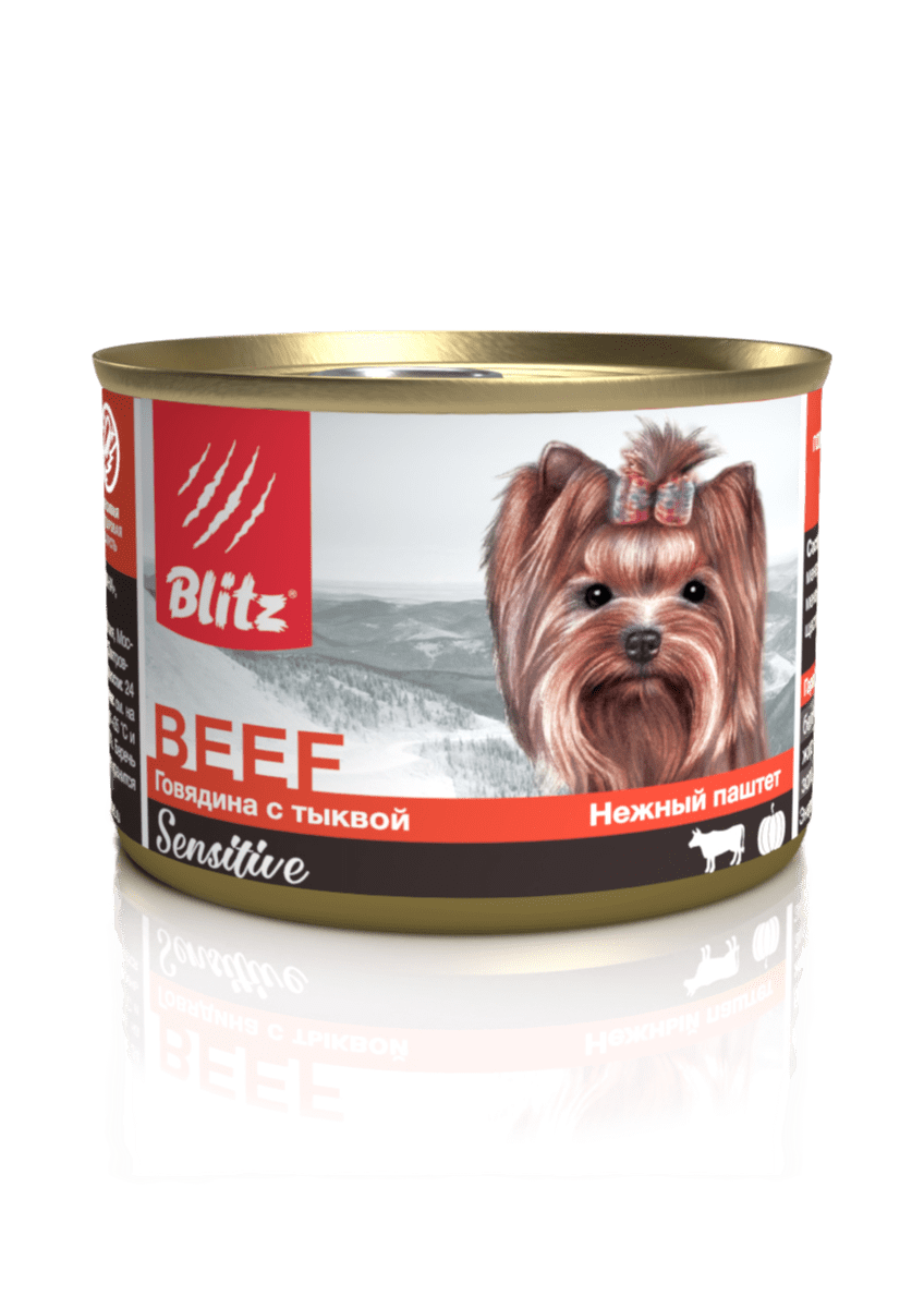 Blitz Sensitive «Говядина с тыквой» консервированный корм для собак мелких пород всех возрастов