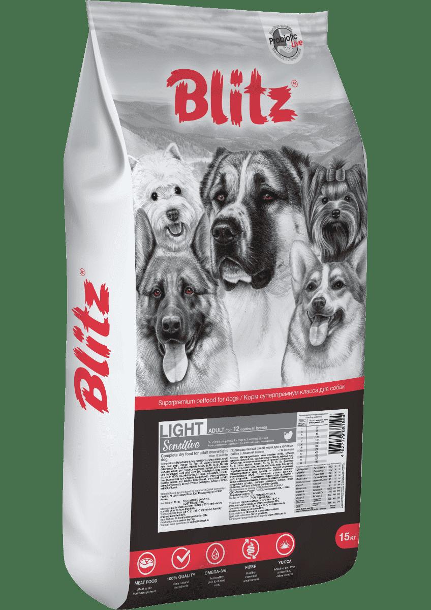 Blitz Sensitive Light сухой корм для взрослых собак с лишним весом