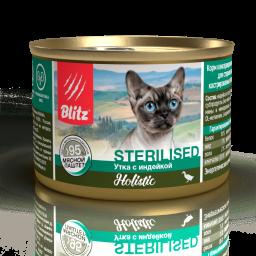 Blitz Holistic «Утка с индейкой» мясной паштет — влажный корм для стерилизованных кошек