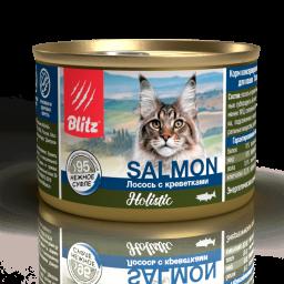 Blitz Holistic «Лосось с креветками» нежное суфле — влажный корм для взрослых кошек