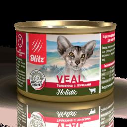 Blitz Holistic «Телятина с почками» мясной паштет — влажный корм для взрослых кошек